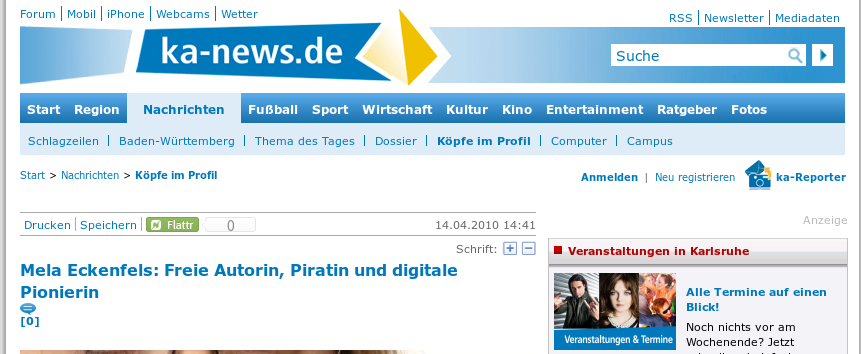 Screenshot - ka-news - Mela Eckenfels: Freie Autorin, Piratin und digitale Pionierin