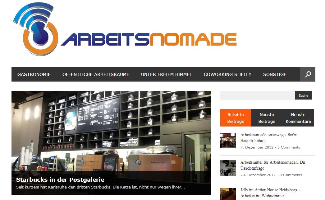 Screenshot Arbeitsnomade Anfang 2014