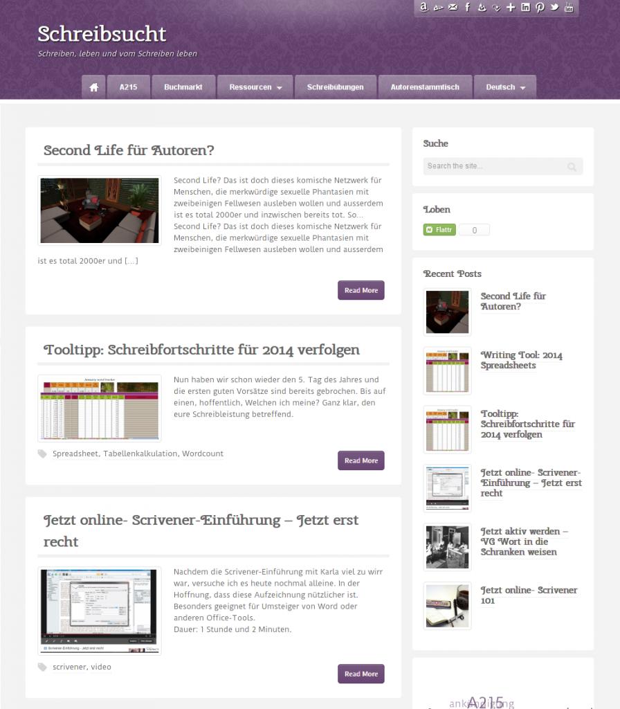 Screenshot Schreibsucht Anfang 2014