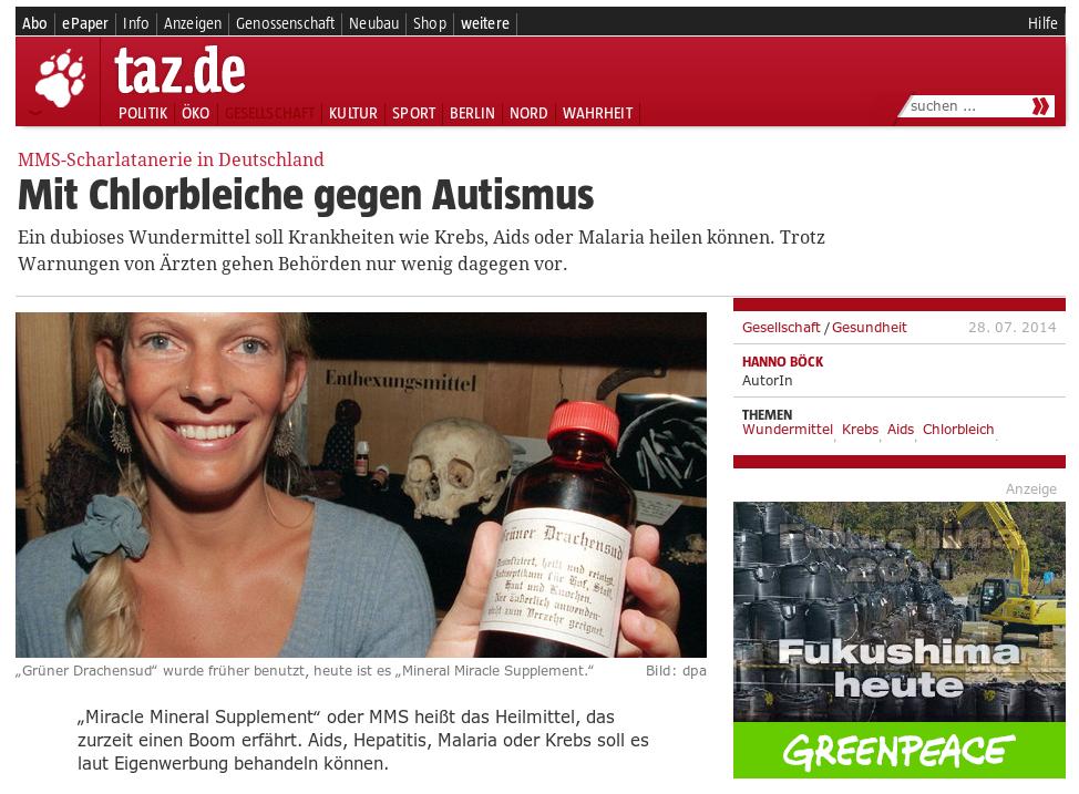 Screenshot - TAZ -Deutschland Mit Chlorbleiche gegen Autismus