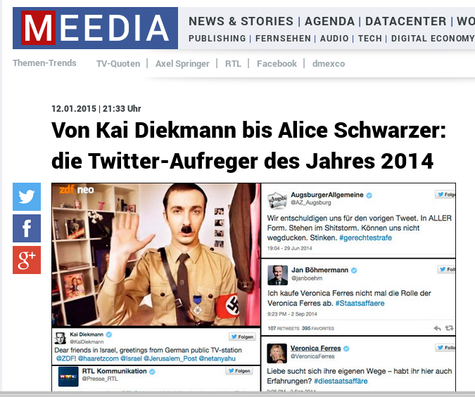 Meedia: Von Kai Diekmann bis Alice Schwarzer: die Twitter-Aufreger des Jahres 2014
