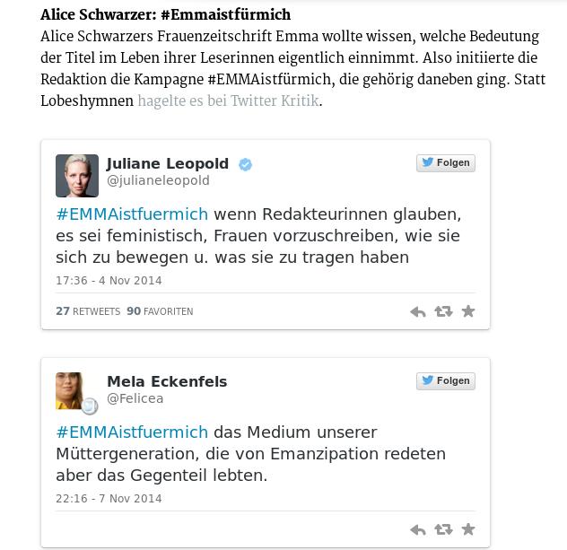 Screenshot der #EMMAistfürmich-Reaktionen