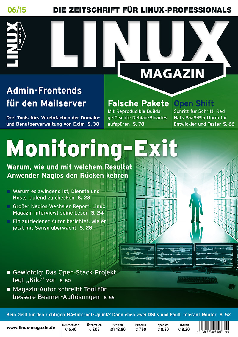 Cover - Linux Magazin - Ausgabe Juni 2015